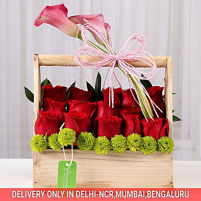 Red Roses Flower Basket