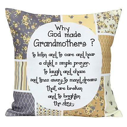 Grandmothers Cushion-White Printed Cushion 12X12 inches