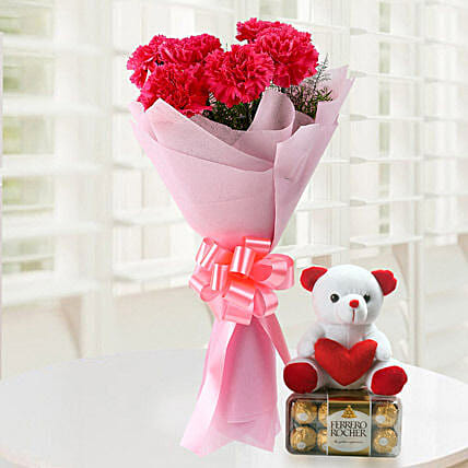Great Gift - Bunch of 6 Baby Pink Carnations with 200gm Ferrero rocher chocolates box, 6inch .