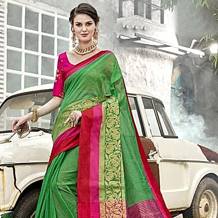 f80339ac438408 Green Art Silk Saree
