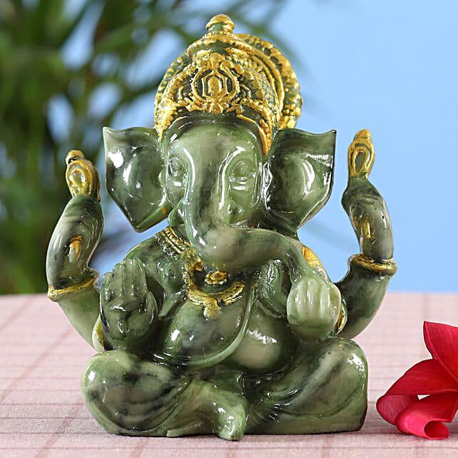 online Green Marble Finish Ganesha Idol:Diwali All Gifts