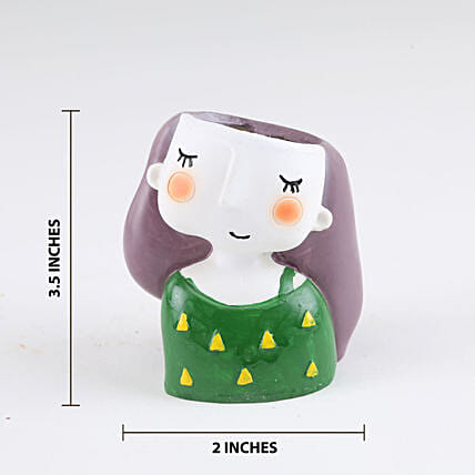 Online Green Resin Girl Pot:Resin Planters