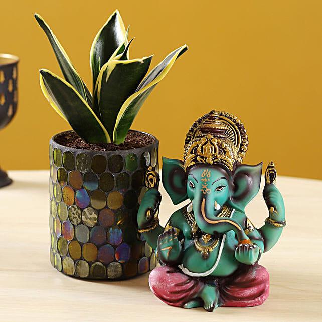 Green Sansevieria Plant In Mosaic Pot Ganesha Idol:Good Luck Plants for Diwali