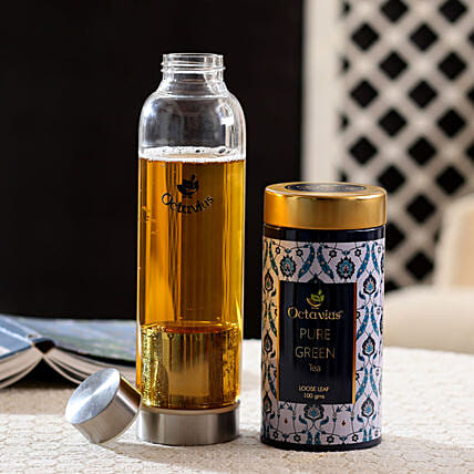 Green Tea and Bottle Combo Online:Tea Gift Hampers