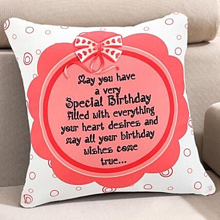 Greetings for Birthday-Non personalized Cushion 12x12 inches White and Pink:Birthday Gifts to Noida