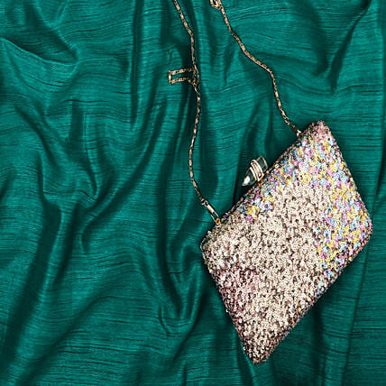 Embroidered Grey Clutch Bag for Her
