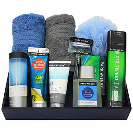 Groom Yourself Boys-Park Avenues Soap,Talcum Powder,Shaving Cream,After Shave Lotion,Shaving Brush,Razor,Face Wash,Loofah,2 grey and blue face towel