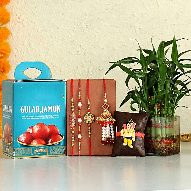 online Gulab Jamun & Bamboo Plant With Set Of 5 Rakhis