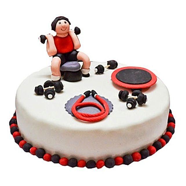 Gym Fondant Cake 3kg Vanilla Eggless