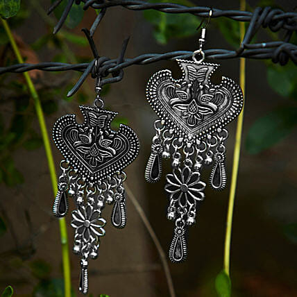 Heavy Tribal Spade Danglers Earrings Online