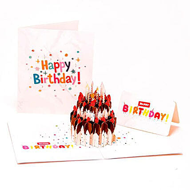 Handmade 3D Pop Up Birthday Cake Greeting Card