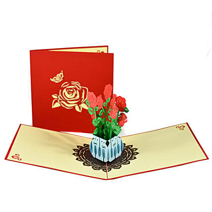 Online Handmade Rose Bouquet 3D Greeting Card