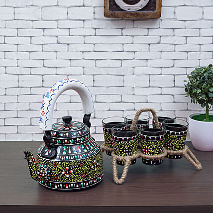 Handpainted Tea Kettle And 6 Glasses With Stand