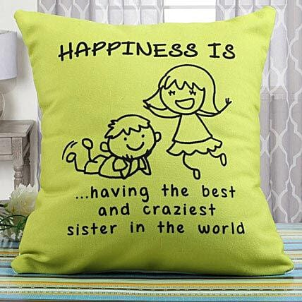 Happiness Cushion Rakhi Gifts for Sister