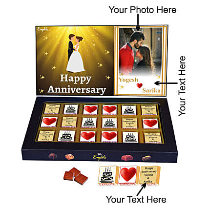 Order Happy Anniversary Personalised Chocolate Gift:Personalised Chocolates for Anniversary
