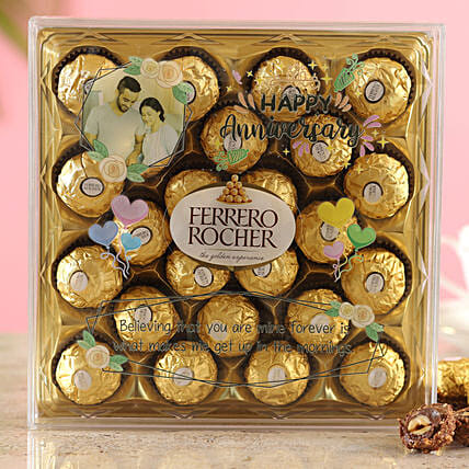 Happy Anniversary Personalised Ferrero Rocher Box:Personalised Chocolates to Kolkata