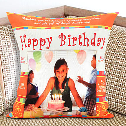An Eternal Delight-Personalized Cushion 12x12 inches Orange and White Color:Gifts to Dharmavaram