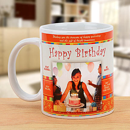 Cheers On the Birthday-Personalized Mug,White And Orange Color:Personalised Mugs for Birthday