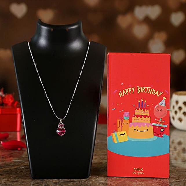 Happy Birthday Card Chocolate & Elegant Pink Pendant Online:Rage Chocolates
