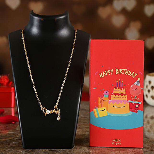Happy Birthday Chocolate & Valentine Special Necklace Online