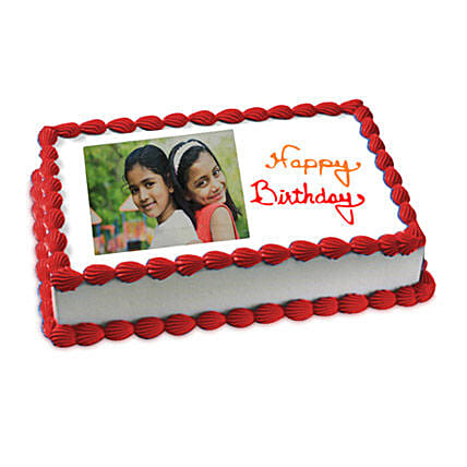 Happy Birthday Photo Cake Eggless 2kg by FNP