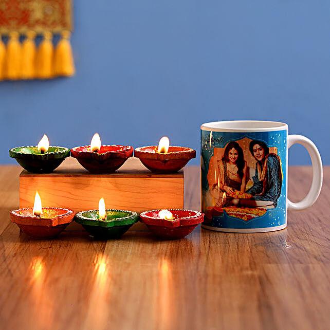 personalised mug with diya combo for diwali