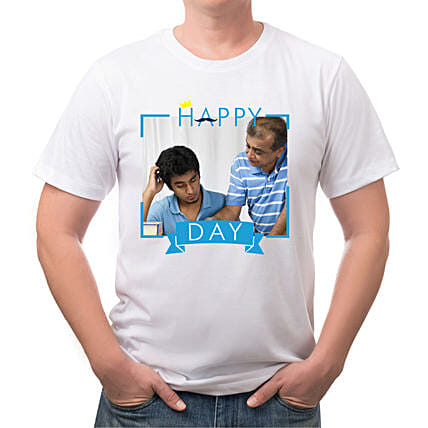 Happy Fathers Day Personalised White T Shirt:Personalised T Shirts