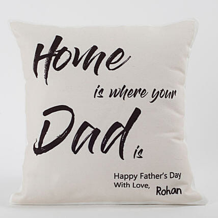 text printed cushion for dad