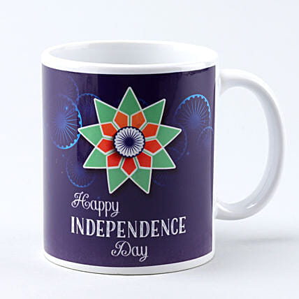 happy independence day white printed mug