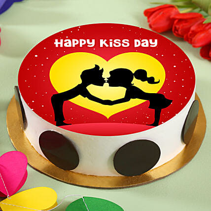 Happy Kiss Day Pineapple Photo Cake:Kiss Day Gifts