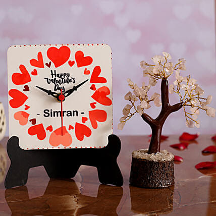 Happy V Day Personalised Table Clock and Wish Tree Hand Delivery