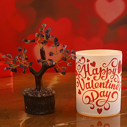 Happy Valentines Day Hollow Candle Amethyst Stone Wish Tree