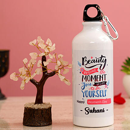 Happy Women s Day Personalised Bottle Wish Tree Hand Delivery:Womens Day Combos