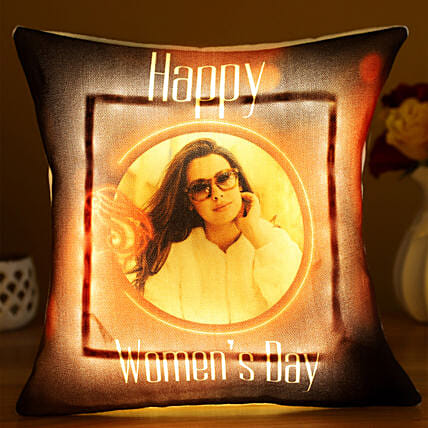 Happy Women s Day Personalised LED Cushion Hand Delivery