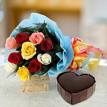 Heart Cake with Roses - 1 kg of heart shaped chocolate cake and a bunch of 10 mix colour roses.
