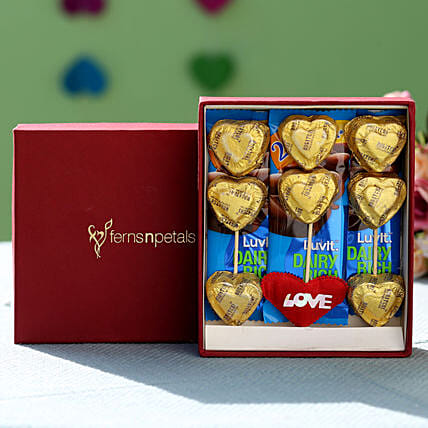 delicious heart shape chocolate with box online:Send Luvit Chocolates