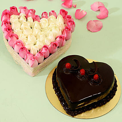 Pink Roses and Cake Combo Online:Heart Shaped Flower Arrangements