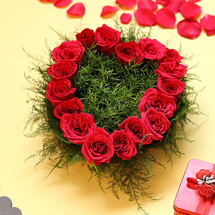 Heart Shape Roses - Heart shape arrangement of 17 Red Roses.