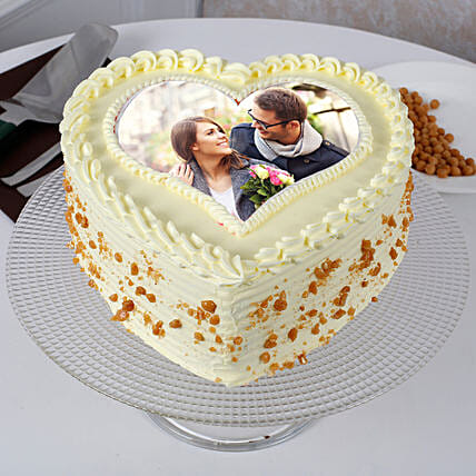 Heart Shape Personalised Butterscotch Cake:Send Anniversary Cake With Photo