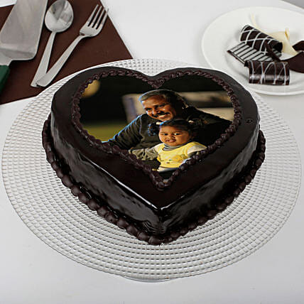 Heart Shaped Chocolate Truffle Photo Cake for Dad 1kg