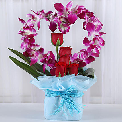 Romantic Heart Shaped Orchids Arrangement:Heart Shaped Flowers