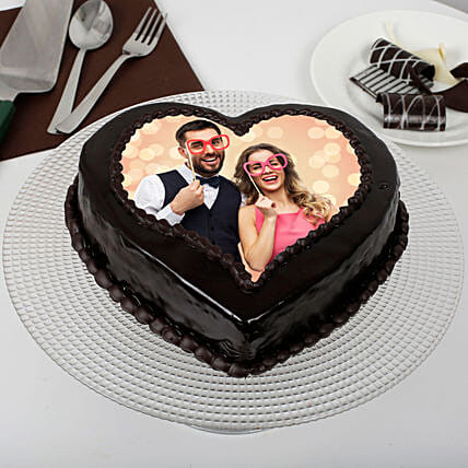 Heart Shape Chocolate Cakes:Send Anniversary Cake With Photo