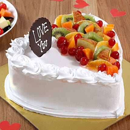 Creamy fruit  heart shape cake online:Eggless cakes for anniversary