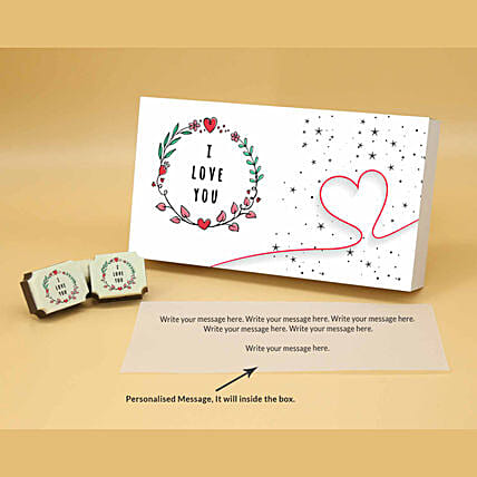 Heart String Personalised Chocolate Box online:Valentine Personalised Chocolates