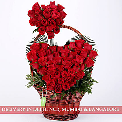 Hearty Love- Red Roses Basket Arrangement