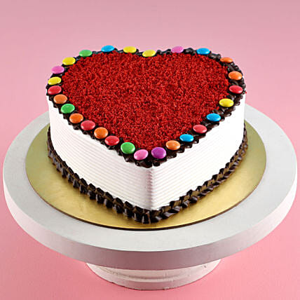 Heart Shaped Red Velvet Gems Cake
