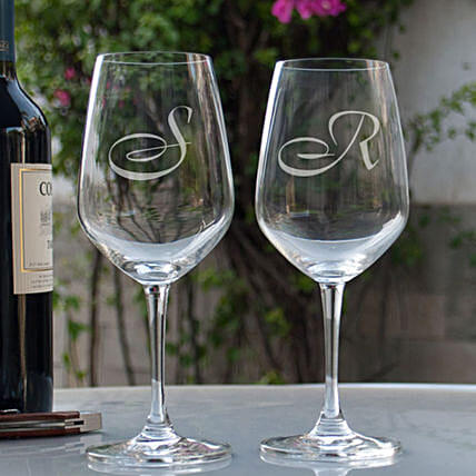 Name Initial Personalised Wine Glasses Online:Send Personalised Wine Glasses