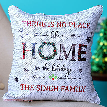 Holidays Bliss Personalised Sequin Cushion Hand Delivery