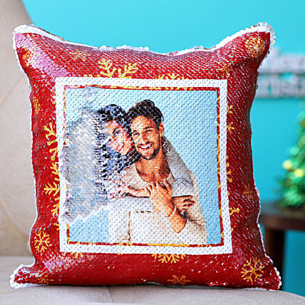Holidays Special Personalised Sequin Cushion:Personalised Sequin cushions