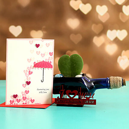 Hoya Plant In ILU Antiquity Bottle Planter Love Umbrella Card